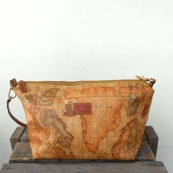 RARE Vintage Authentic Alviero Martini 1A Classe Geo Classic Map Crossbody/Shoulder Purse,Bag Made in Italy