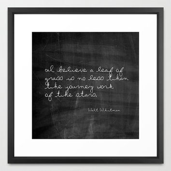 Typography Print - Walt Whitman Quote - Leaf of Grass - Quotes - Typography - Black and White - Chalkboard Print - Wall Art - Inspirational