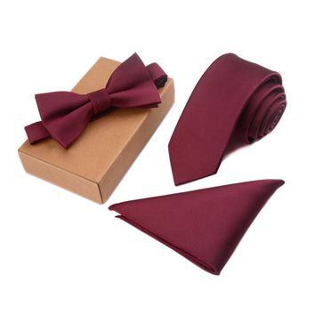 GUSLESON Slim Tie, Bow Tie and Pocket Square Handkerchief Set