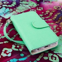 MPERO FLEX FLIP Wallet Case for Apple iPhone 5C - Mint / White