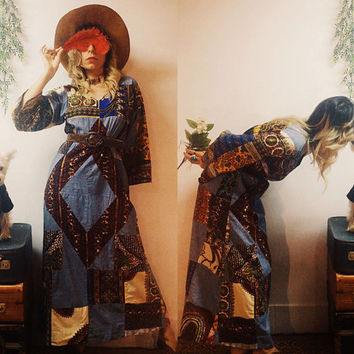 1970s Graphic Patchwork Quilted Denim Long Floral Boho 70s Maxi Festival Cotton Hippie Bohemian Paisley Dress Small Medium.