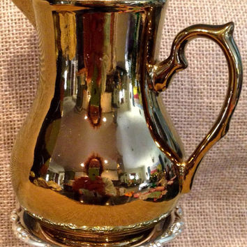 Harvest Ware Wade of England pitcher & silver fork planter