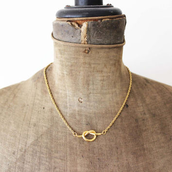 Trifari Gold Knot Necklace - Thin Gold Chain Necklace with Knot Pendant