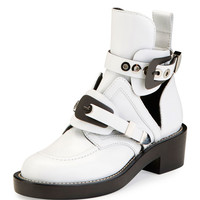 Balenciaga Buckle Leather 35mm Bootie, Blanc