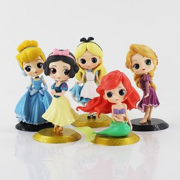 Q Posket Snow White Princess Alice Mermaid figure Alice in Wonderland Ariel Cinderella Belle Tangled Rapunzel Doll Toys
