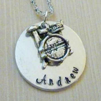 Personalized Drums necklace drummer Necklace band musician Hand stamped jewelry