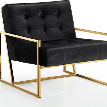 Pierre Gold Accent Chair Black Velvet