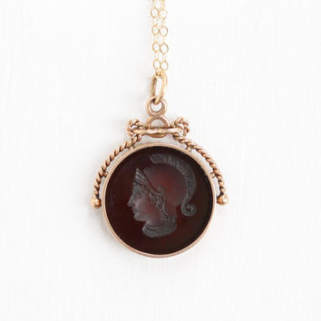 Antique Victorian Era 10k Rose Gold Carnelian Intaglio Soldier Fob Necklace - Vintage Red Gem Pendant Pocket Watch Chain Charm Fine Jewelry