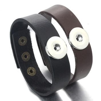 23CM Adjustable Snap Bracelet Vintage Weave Real Leather Bracelet Fit 18mm Snap Button Bracelet For Women Jewelry 9393