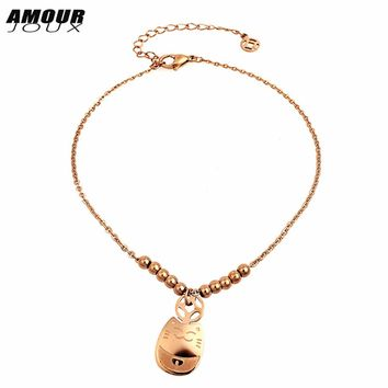 Cute Cat Rose Gold-Color Stainless Steel Ankle Bracelet