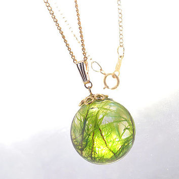 Real Wild Moss Necklace, Nature Globe Pendant with Gold Vermeil cap and 14kgf chain