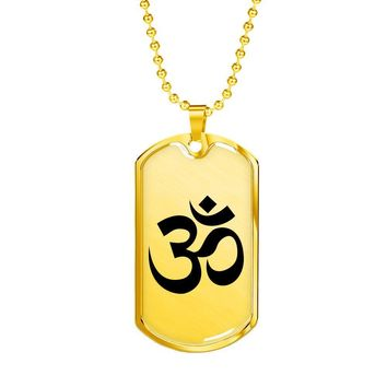 Om Symbol - 18k Gold Finished Luxury Dog Tag Necklace