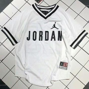 Nike Air Jordan Summer Tide Heavy Industry Embroidered V-neck Couple T-Shirt F-AG-CLWM White