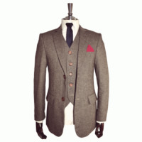 Classic Brown Tweed Three Piece Suit |