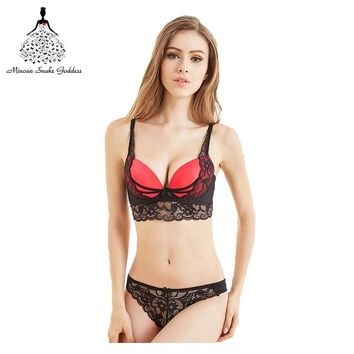 Push Up Bra Set Sexy Thong Pants Lingerie Deep V Embroidery Underwear Women Flower Lace Bra Set Three Quarters Female Underwear