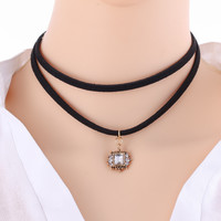 Fashion Women New Design Choker Necklace Crystal Pendant Multilayer Chain Leather Necklaces Good coleiras collares Popular