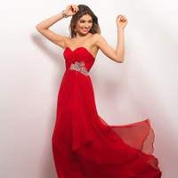 2013 Reds Gorgeous Long Strapless Sweetheart Evening Prom Dress Ball Gown Party