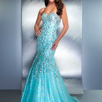 Mac Duggal 85144D Aqua Mermaid Dress