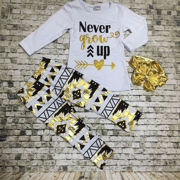 Never Grow Up Black & Gold Aztec Tribal Boutique Outfit Leggings For Girls Infants Toddler Kids Clothes