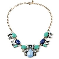 Blue and Gold Multi Gem Statement Necklace