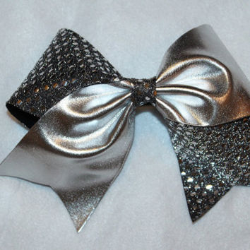 Black, silver, sequin cheer bow