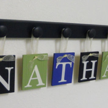Childrens Personalized Decor Name Signs Includes 6 Peg Hooks and Babies Name NATHAN Navy, Blue and Light Green. Baby Boys Room Wall Decor