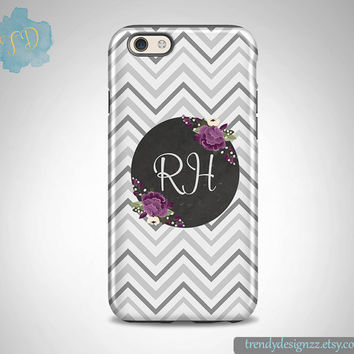 Personalized iPhone case, iPhone 6 case iPhone 5 5C case Samsung S6 S5 case, Gift, Gray Chevron Purple Flowers, Chalkboard Design (6)