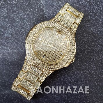 Raonhazae Hip Hop Iced Lab Diamond 14K  Gold Plated Watch with Stone