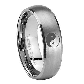 8MM Classic Satin Silver Dome Yin Yang Tungsten Laser Engraved Ring