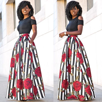 Black Cutout Shoulder Top and Rose Printed Maxi Skirt