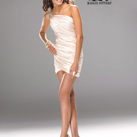 Champagne Ruched Satin Single Shoulder Cocktail Dress - Unique Vintage - Homecoming Dresses, Pinup & Prom Dresses.