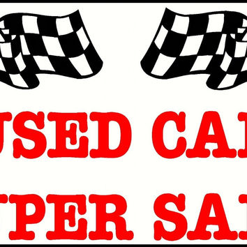 USED CAR SUPER SALE BANNER WITH FLAGS BLACK WHITE RED GOOD QUALITY VINYL SIGN