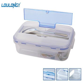 1000ML Outdoor Lunch Box Microwave Food-Grade PP Lunch Bento Box With Soup Bowl Chopsticks Spoon LaunchBox Eco-Friendly LB021