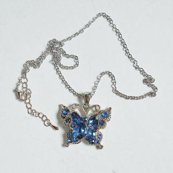 Butterfly Necklace, Bright Blue Rhinestones, Vintage Costume Blue Rhinestone Butterfly Pendant Necklace