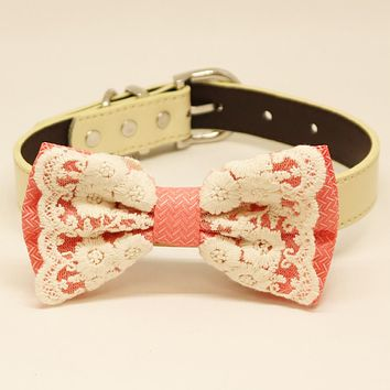Peach Dog Bow Tie, Lace wedding, Pet accessory collar