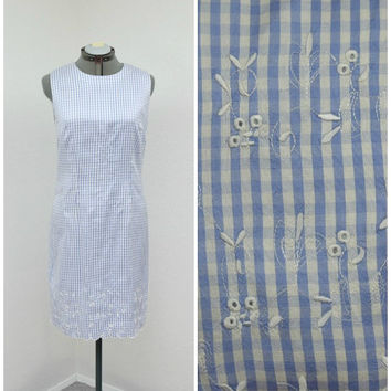 Vintage 90s White and Periwinkle Checked Silk Dress, Maggy London, Embroidered Dress, Scalloped Hem, Short Sleeveless Shift Dress Size L