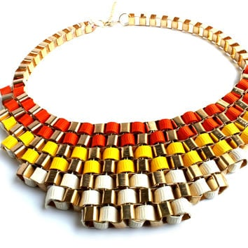 """Mozaic Muze"" Gold Statement Necklace"