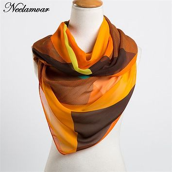 new 2017  spring and autumn chiffon women  scarf  geometric pattern design long soft silk shawl 160*50cm