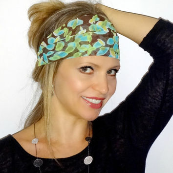 Brown,blue and green  print head wrap,hair scarf,trendy, hair band,headband