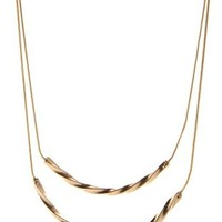 Gold Layered Twisted Bar Necklace by Charlotte Russe