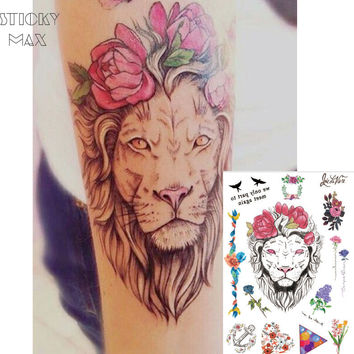 W03 1 PIECE Flower Crown Lion  on Arm  Temporary Tattoo with Lavender,Balloon Triangle,Daisy Wreath Pattern Body Art