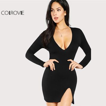 COLROVIE 2018 Plain Deep V Neck Long Sleeve Winter Mini Dress Black Slit Front Form Fit Sexy Dress Women Short Party Dress