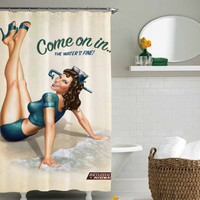 Come on the water is clear retro vintage pin up girl Shower Curtain shower curtain,shower curtain size 36x72 48x72 60x72 66x72