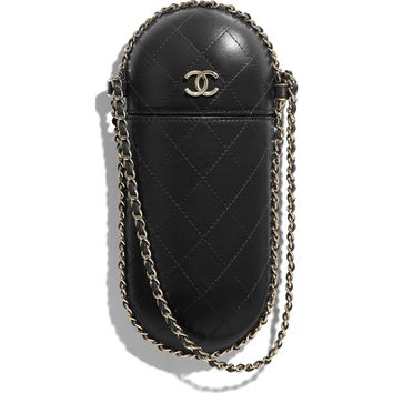 Lambskin & Gold-Tone Metal Black Clutch with Chain | CHANEL