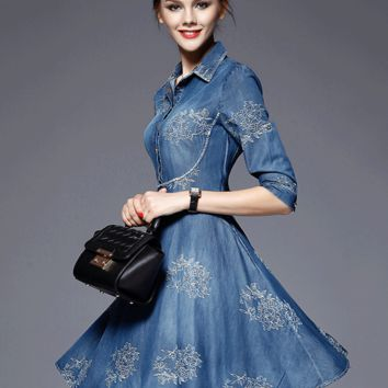 Fashion Blue Lapel Embroidered Plus Size Swing Denim Dress