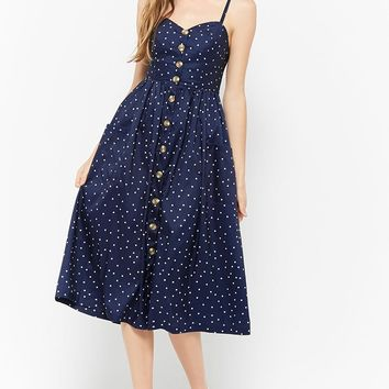 Polka Dot Button-Front Midi Dress