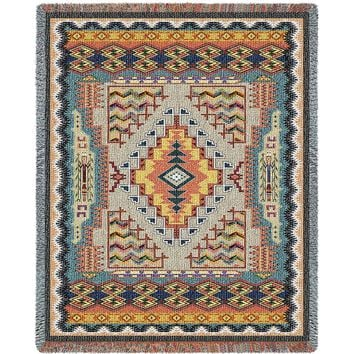 SOUTHWEST TURQUOISE TAPESTRY AFGHAN THROW BLANKET