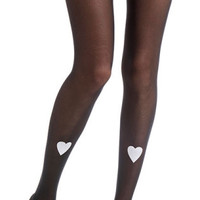 Hearts Print Sheer Tights Black & White - TrendyLegs