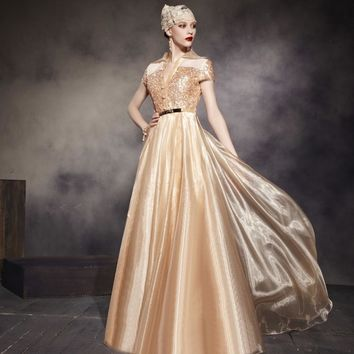 Coniefox 30565 Special Design Ball Gown Cap Sleeve Prom Dress Long