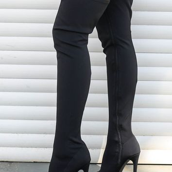Knock Them Dead Black Thigh High Peep Toe Boots